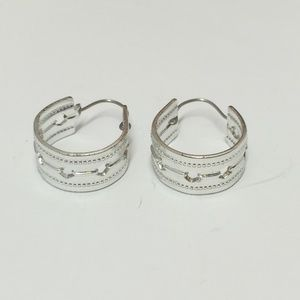 Unique Silver tone Hoop earrings